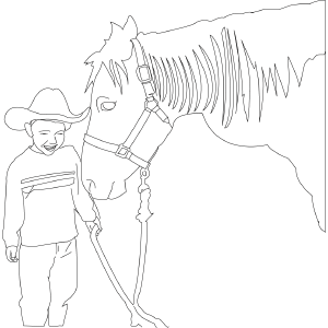Horse with Boy coloring page